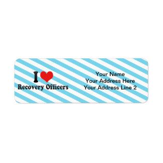 Amo a oficiales de la recuperación etiquetas de remite