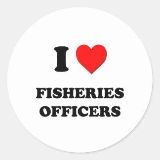 Amo a oficiales de las industrias pesqueras pegatinas redondas
