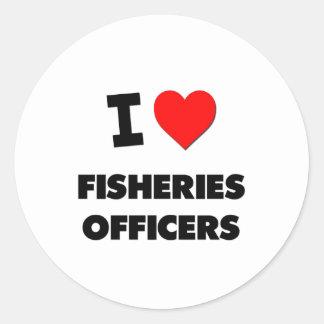 Amo a oficiales de las industrias pesqueras etiqueta redonda