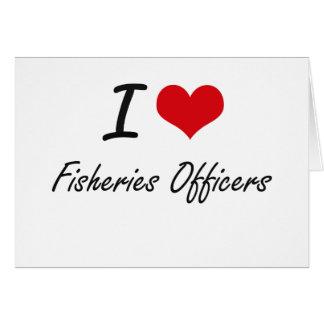 Amo a oficiales de las industrias pesqueras tarjeta pequeña