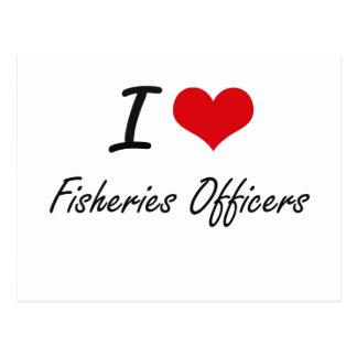 Amo a oficiales de las industrias pesqueras tarjetas postales
