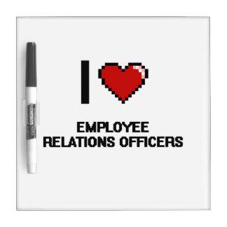 Amo a oficiales de las relaciones de empleado tablero blanco