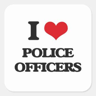 Amo a oficiales de policía calcomanía cuadrada personalizada