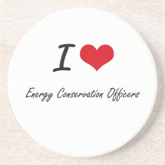 Amo a oficiales del ahorro de energía posavasos de arenisca