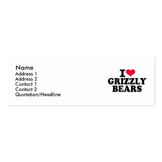 Amo a osos grizzly tarjetas de negocios