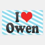 Amo a Owen Pegatina Rectangular