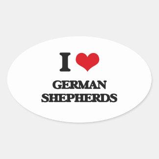 Amo a pastores alemanes pegatinas ovaladas