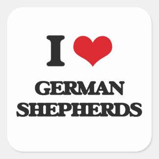 Amo a pastores alemanes pegatina cuadradas personalizada