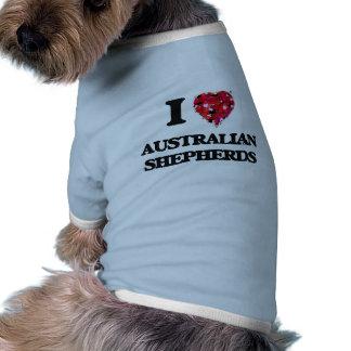 Amo a pastores australianos camiseta de perro