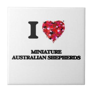 Amo a pastores australianos miniatura azulejo cuadrado pequeño