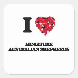 Amo a pastores australianos miniatura pegatina cuadrada