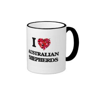 Amo a pastores australianos taza de dos colores