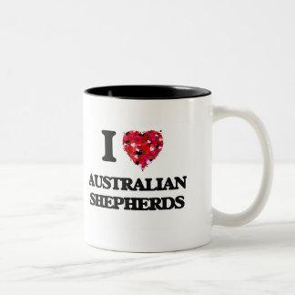 Amo a pastores australianos taza de dos tonos