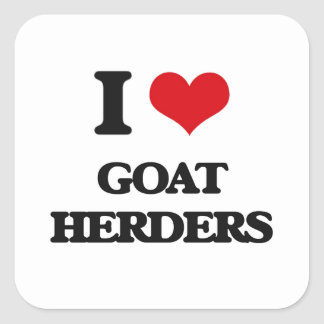 Amo a pastores de la cabra pegatinas cuadradas personalizadas