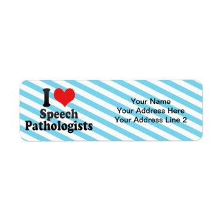 Amo a patólogos de discurso etiquetas de remite
