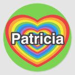 Amo a Patricia. Te amo Patricia. Corazón Etiqueta Redonda