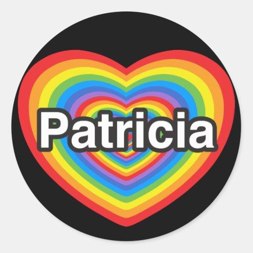 Amo a Patricia. Te amo Patricia. Corazón Pegatinas Redondas