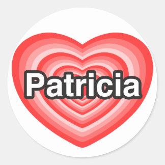 Amo a Patricia. Te amo Patricia. Corazón Pegatina Redonda