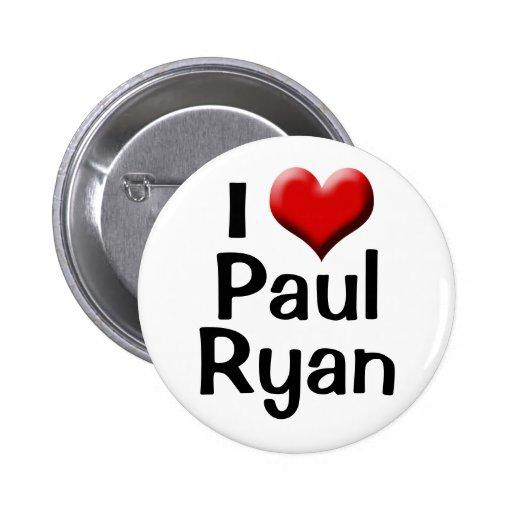Amo a Paul Ryan, botón rojo del corazón Pin