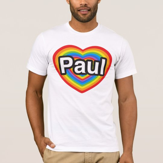 Amo a Paul. Te amo Paul. Corazón Playera
