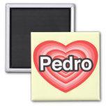 Amo a Pedro. Te amo Pedro. Corazón Imán De Frigorífico
