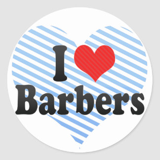 Amo a peluqueros etiqueta redonda