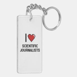 Amo a periodistas científicos llavero rectangular acrílico a doble cara