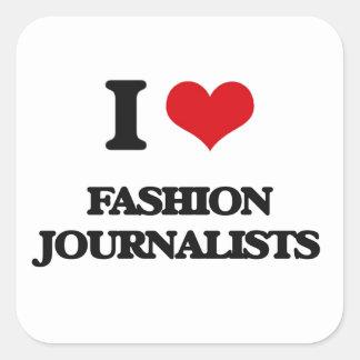 Amo a periodistas de la moda pegatina cuadradas