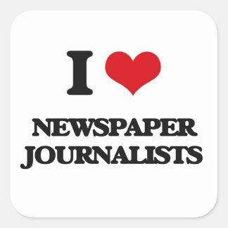 Amo a periodistas del periódico pegatina cuadradas personalizada