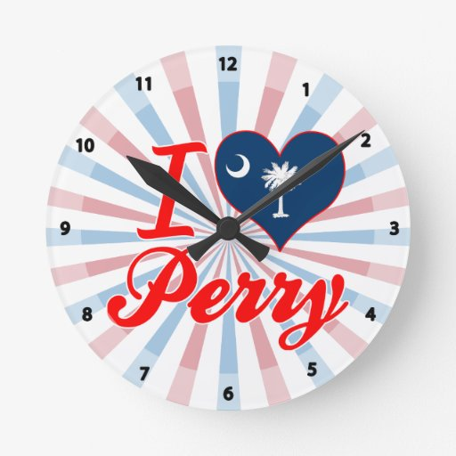 Amo a Perry, Carolina del Sur Reloj Redondo Mediano