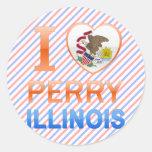 Amo a Perry, IL Pegatina Redonda