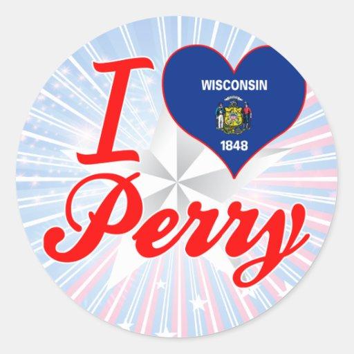 Amo a Perry, Wisconsin Pegatina Redonda