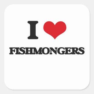 Amo a pescaderos pegatina cuadrada