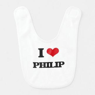 Amo a Philip Babero Para Bebé