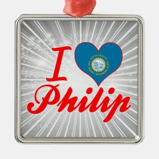 Amo a Philip Dakota del Sur Ornamentos De Navidad