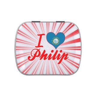 Amo a Philip Dakota del Sur Jarrones De Caramelos