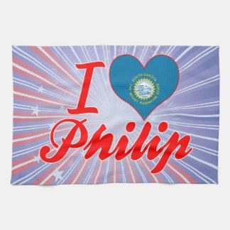 Amo a Philip Dakota del Sur Toalla De Cocina