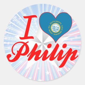 Amo a Philip Dakota del Sur Pegatinas Redondas