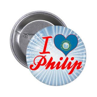 Amo a Philip Dakota del Sur Pins