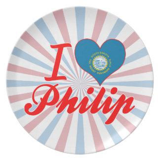 Amo a Philip Dakota del Sur Plato De Comida