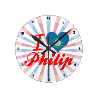 Amo a Philip Dakota del Sur Reloj De Pared