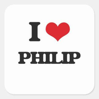 Amo a Philip Pegatina Cuadrada