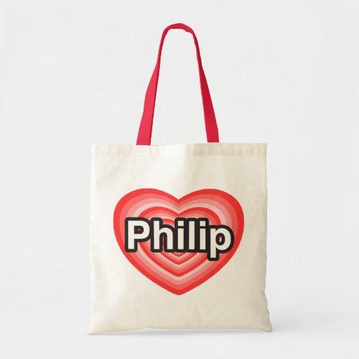 Amo a Philip. Te amo Philip. Corazón Bolsas De Mano