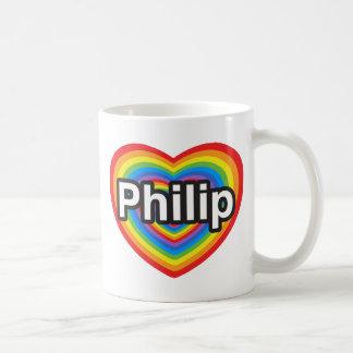 Amo a Philip. Te amo Philip. Corazón Taza