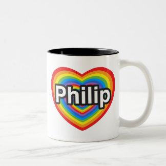Amo a Philip. Te amo Philip. Corazón Taza De Dos Tonos