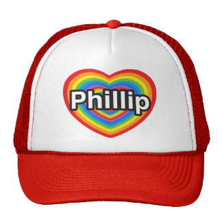 Amo a Phillip. Te amo Phillip. Corazón Gorros