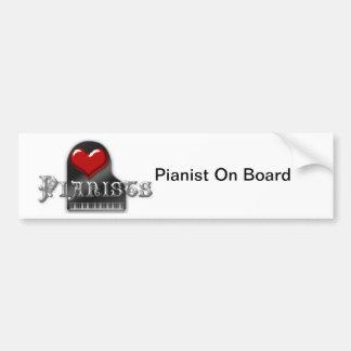 Amo a pianistas pegatina para auto