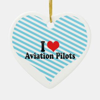 Amo a pilotos de la aviación adorno de cerámica en forma de corazón