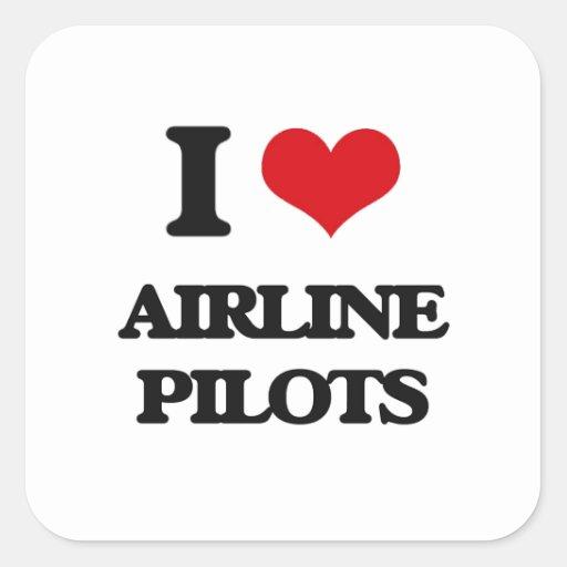 Amo a pilotos de la línea aérea calcomanía cuadradas personalizada