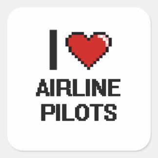 Amo a pilotos de la línea aérea pegatina cuadrada
